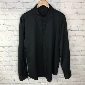 7 Diamonds Black Ribbed Dress Shirt sz XXL